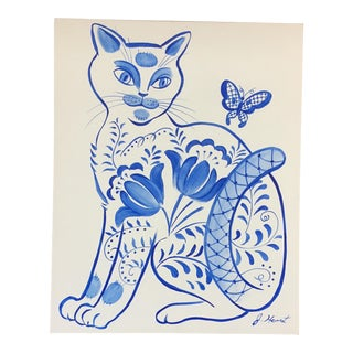 Original Painting Cat With Butterfly by Jane Herriot For Sale