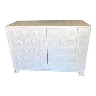 Seashell Motif White Wooden Cabinet For Sale