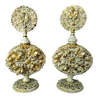 Gilded Filigree Perfume Bottles - A Pair For Sale