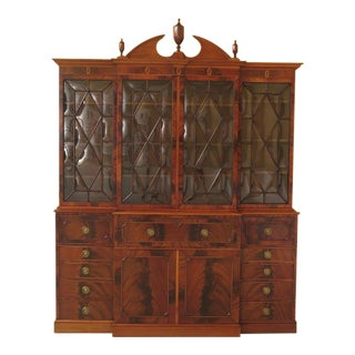 Vintage 1940's Inlaid Flame Mahogany Breakfront For Sale