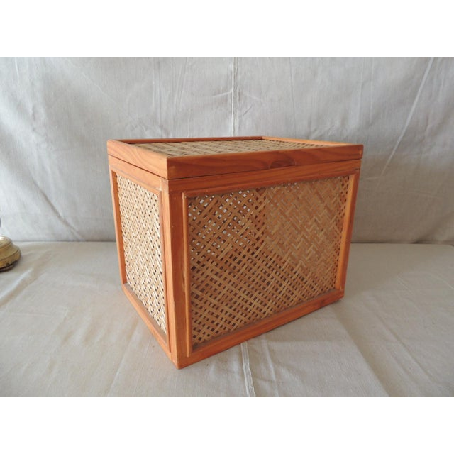 Wood Woven Bamboo Trellis Pattern Filing Box With Lid For Sale - Image 7 of 7