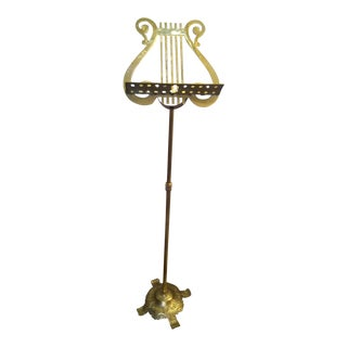 Mid-Century Brass Lyre Music Stand