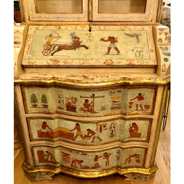 Unusual Antique 19th C Egyptian Motif Paint Decorated Italian Secretary For Sale In Los Angeles - Image 6 of 7