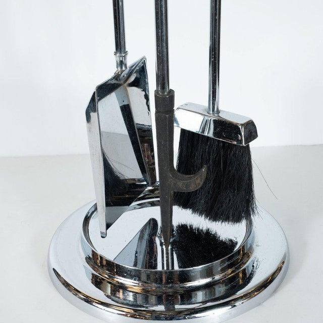 Chrome Mid-Century Modern Four-Piece Lucite and Chrome Fire Tool Set For Sale - Image 7 of 9