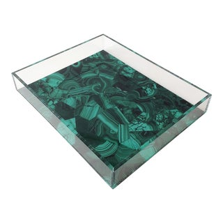 Lucite Tray With Green Agate Image For Sale