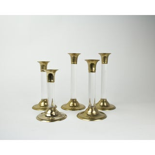 Hollywood Regency Lucite and Brass Candlestick Holders - Set of 5 Preview