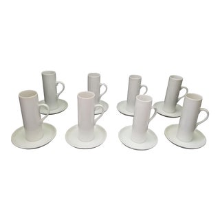 Lagardo Tackett for Schmid White Porcelain Coffee Demitasse Cups - Set of 8 For Sale