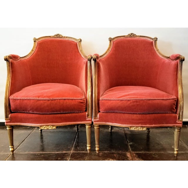 Louis XV Style Pink Mohair Velvet Upholstery Bergere Chairs- A Pair For Sale - Image 9 of 9