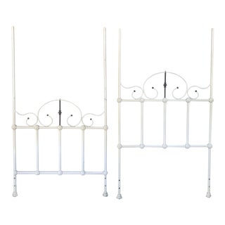 Antique Romantic Iron Twin Size Headboard and Footboard - 2 Pieces For Sale
