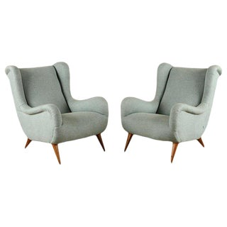 Mid-Century Modern Marco Zanuso Style Upholstered Armchairs- A Pair For Sale
