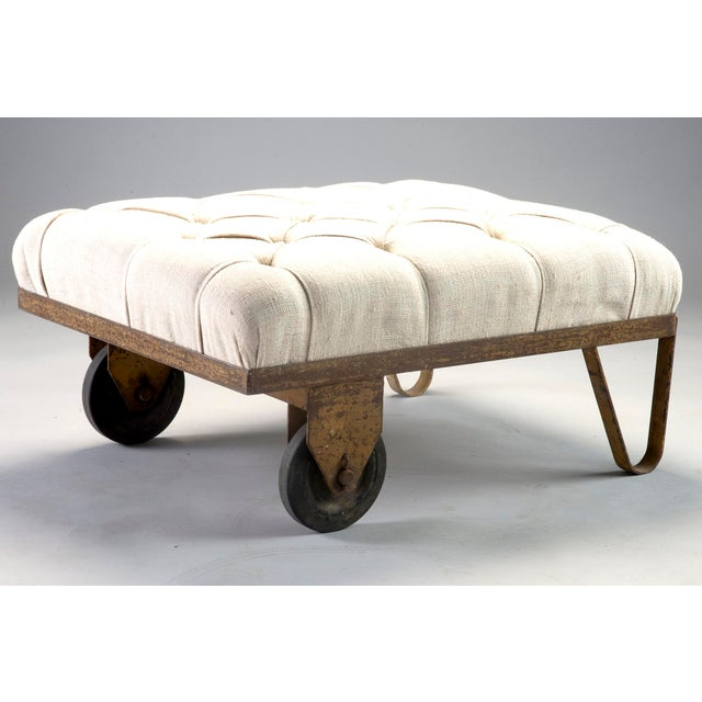 Industrial 1930s Tufted Ottoman Bench Stool with Industrial Wheelbarrow Base For Sale - Image 3 of 13