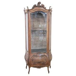 19th Century Italian Rococo Style Carved Walnut Vitrine or Cupboard For Sale