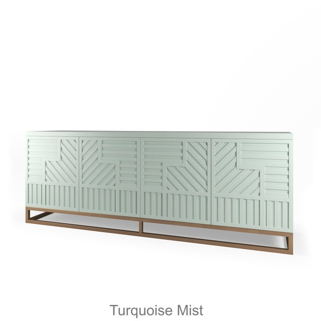 Not Yet Made - Made To Order Stria Credenza - Brushed Brass Base, Turquoise Mist For Sale - Image 5 of 5