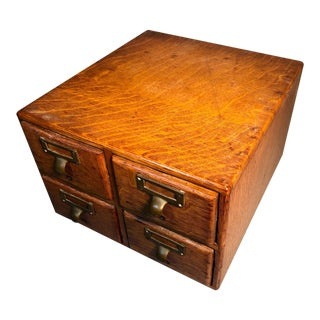 1894 Tigered Oak Card Catalog Library File Cabinet For Sale