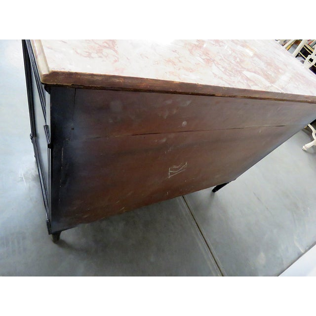 Directoire Style Marble Top Ebonized Commode For Sale - Image 9 of 12