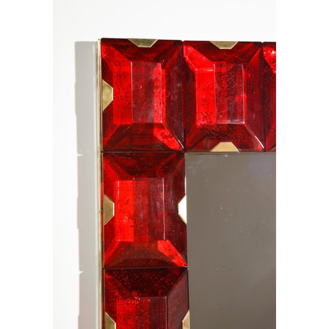 2000 - 2009 Large Murano Glass Block Mirror For Sale - Image 5 of 12
