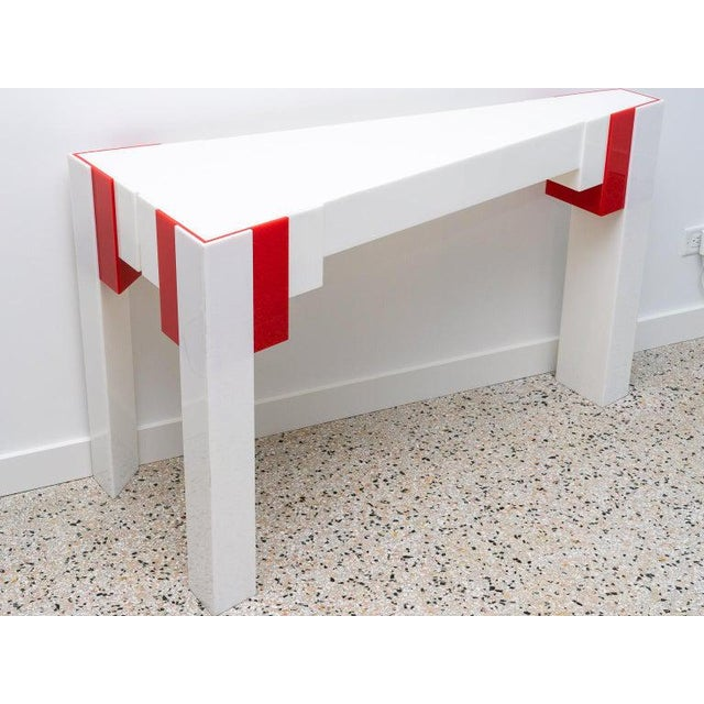 Lucite Console Table Red and White 1970s Art Deco Revival For Sale - Image 11 of 13