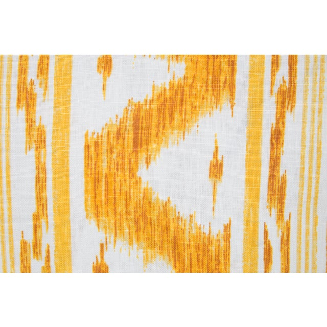 Boho Chic Canary and Ivory Linen Ikat Pillows - a Pair For Sale - Image 3 of 5