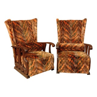 European Retro Vintage Wingback Armchair - Pair