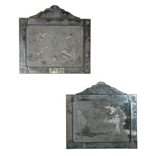 Antique Etched Glass Mirror Plaques - A Pair For Sale
