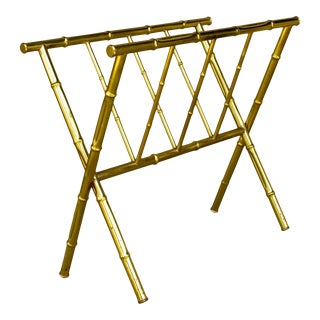 Mid-Century French Maison Bagués Style Faux Bamboo Magazine Rack For Sale
