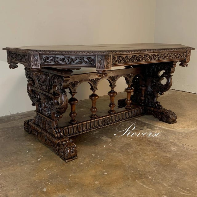 19th Century French Renaissance Octagonal Library Table is a stunning example of exceptional French quality, with boldly...