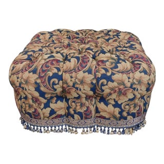 Great Wesley Hall Tufted Upholstered Living Room Ottoman Pouf 1990s For Sale