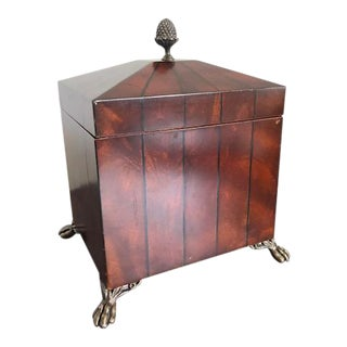 Maitland Smith Traditional Wood Box with Pineapple Finial For Sale