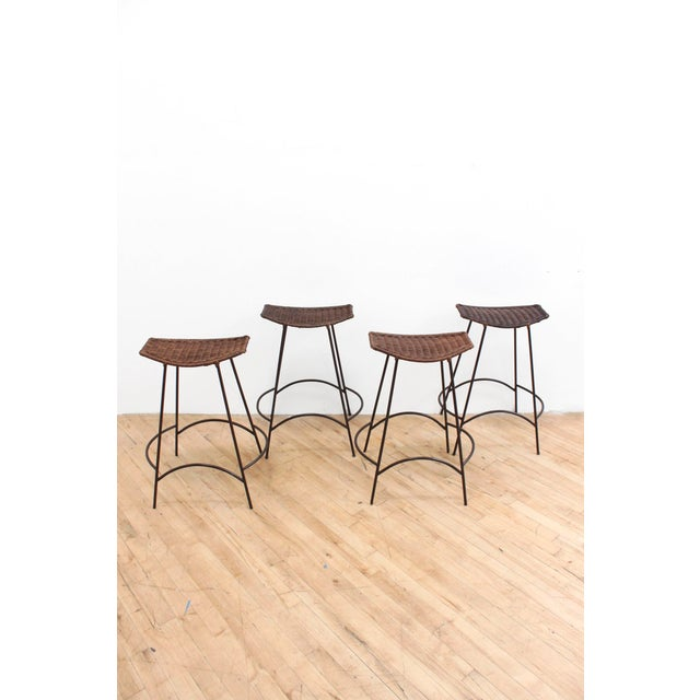 Brown Set of 4 Raymor Arthur Umanoff Wicker and Iron Counter Stools For Sale - Image 8 of 8