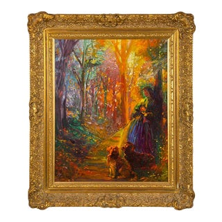 Signed Finely Detailed Oil on Board by Paul Williams Titled Forrest Walk For Sale