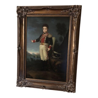 Vintage Mid-Century Federal Style Portrait Oil Painting For Sale