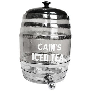 Mid Century Vintage Glass Cain's Ice Tea Jug Decanter Circa 1950s For Sale