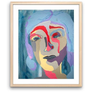 """Contemporary Abstract Portrait Painting """"Blue Haired Babe, No. 4"""" - Framed Preview"""
