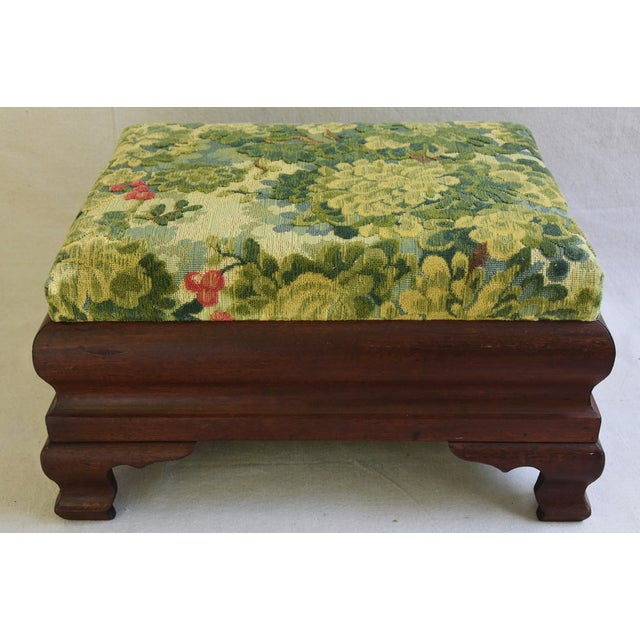 Early Carved 1900s Foot Stool w/ Scalamandre Marly Velvet Fabric - Image 3 of 11