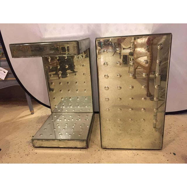 Art Deco Art Deco Style Bulls-Eye Mirrored Lamp, Side Tables or Pedestals - a Pair For Sale - Image 3 of 7