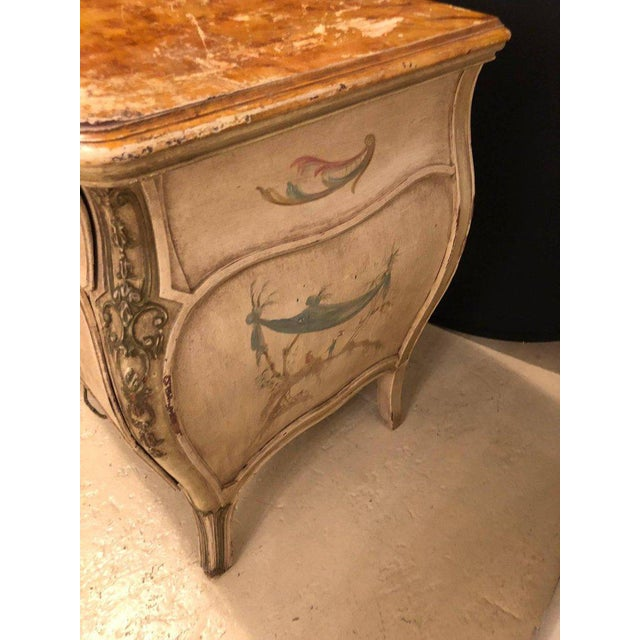 Wood Venetian Scenic Bombe Chinoiserie Painted Commode with a Faux Marble Top For Sale - Image 7 of 11
