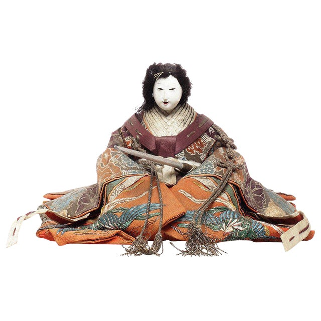 Japanese Taisho Doll with Silk Clothing and Powdered Face, Early 20th Century For Sale