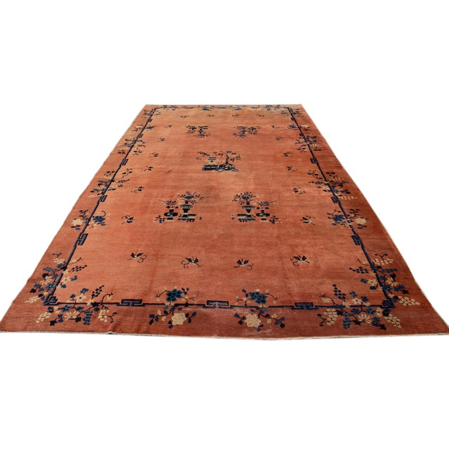 Early 20th Century Antique Art Deco Chinese Wool Rug 9 X 15 For Sale In New York - Image 6 of 13
