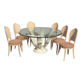 Mid Century Lily Flower Pedestal Dining Table & Grotto Shell Back Chairs - Set of Six For Sale