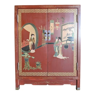 1960s Hand-Painted Chinoiserie Cabinet / Night Stand For Sale