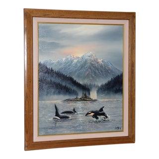 "Ulysses La Rosa ""British Columbia Orcas"" Oil Painting C.1980s For Sale"