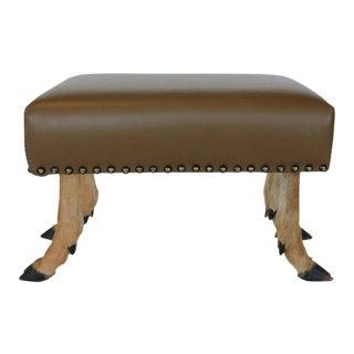 Antique Leather & Deer Hoof Footstool