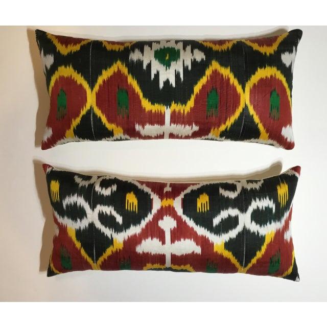 Boho Chic Silk Ikat Lumbar Pillows - a Pair For Sale - Image 3 of 13