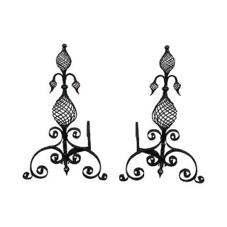 Quality Pair of Antique Arts & Crafts Spiral Twist Andirons For Sale
