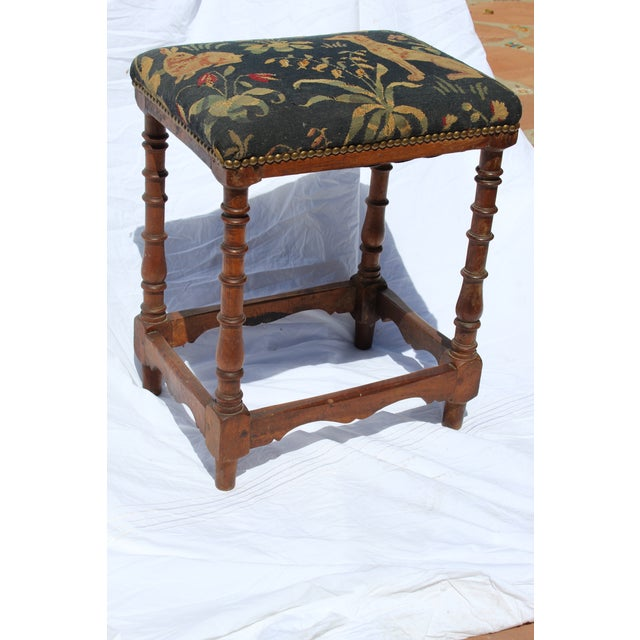 Green 17th C. French Needlepoint Stool For Sale - Image 8 of 8