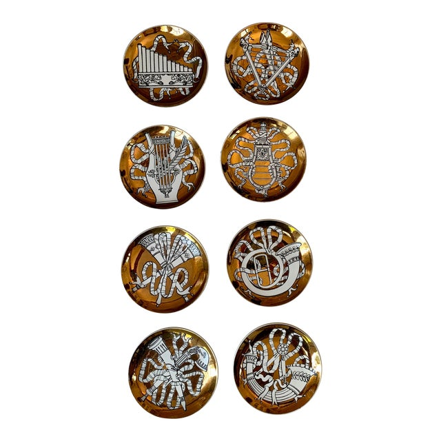 """1950s P. Fornasetti """"Musicalia"""" Brass Plates, Italy - Set of 8 For Sale"""