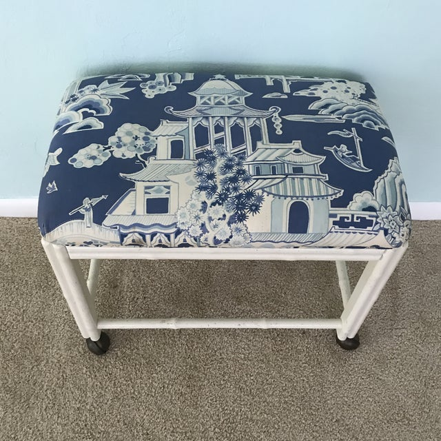 White Vintage Drexel Faux Bamboo Vanity Stool For Sale - Image 8 of 9