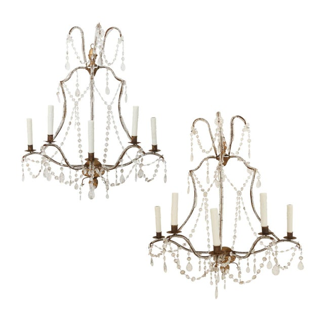 Pair of Large Beaded Gilt-Iron Sconces For Sale - Image 9 of 9