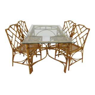 Italian Rattan Chippendale Dining Set For Sale