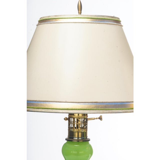 Pair of Mid-Century acid green 1950's Murano lamp on brass bases. The shades are included and are handcrafted in parchment...